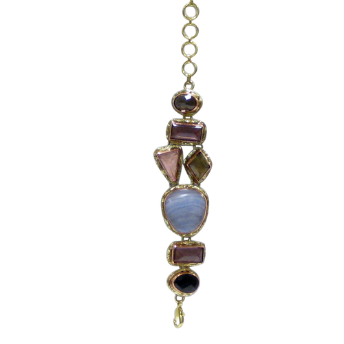 Bracelet - Stainless Gold White Metal Blue Lace Agate, Amethyst & Smoky Rose Quartz