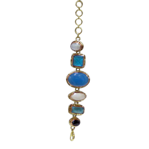 Bracelet - Stainless Gold White Metal Blue Chalcedony, Rainbow Quartz & Blue Faceted Aqua