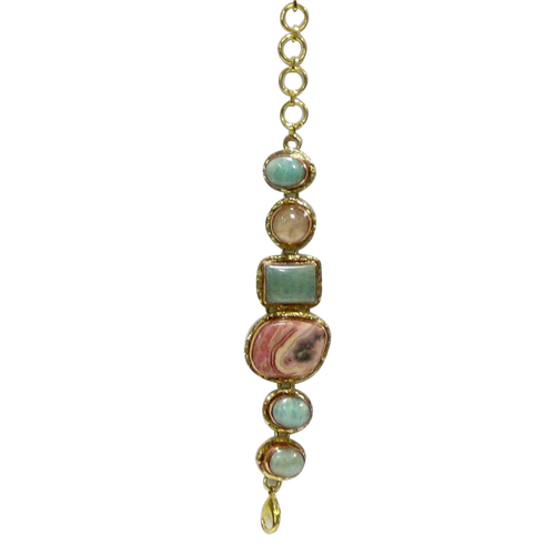 Bracelet - Stainless Gold White Metal Amazonite, Rhodochrosite & Rose Quartz
