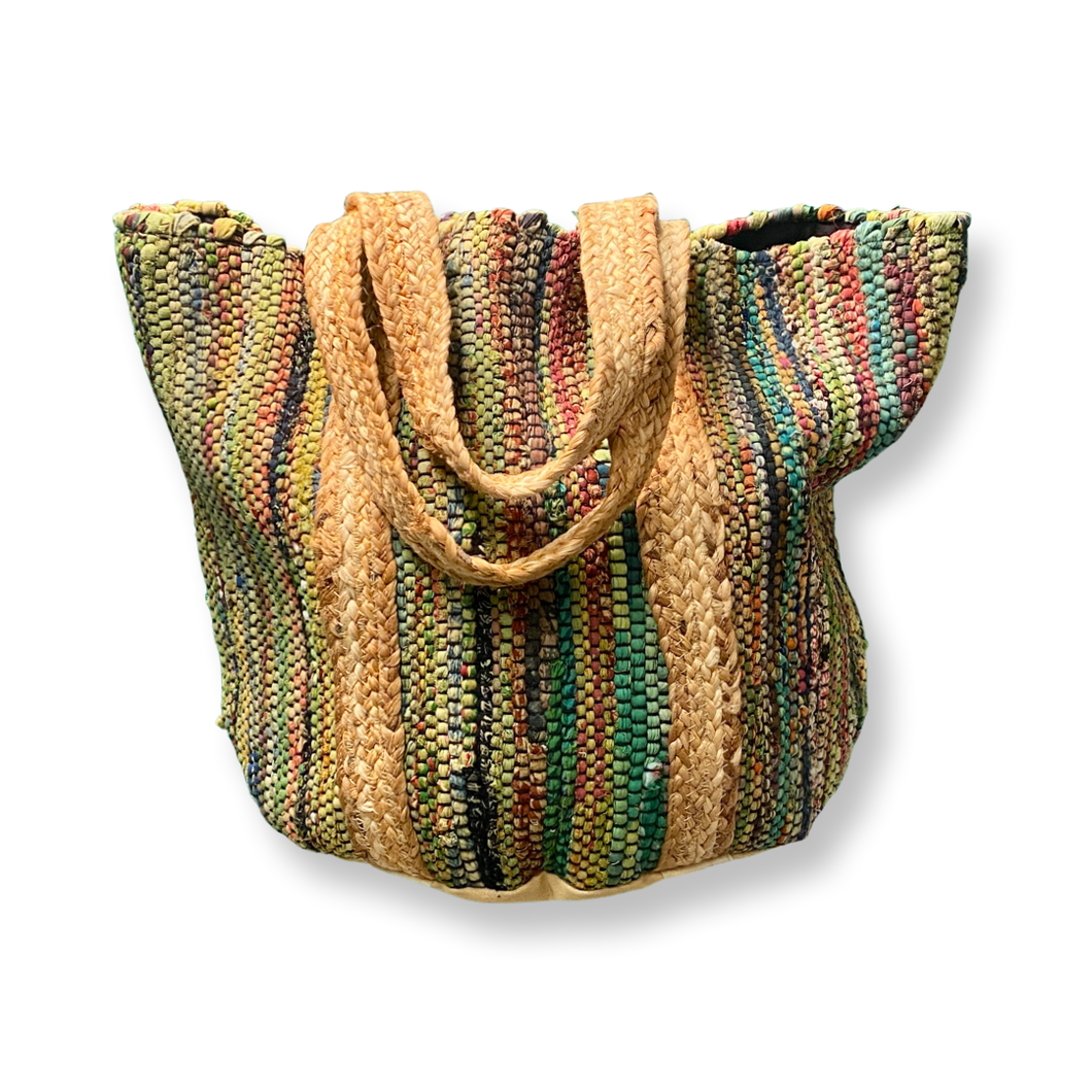 Handbag - Large Recycled Cotton Thread Handloom Tote w/Jute Strap