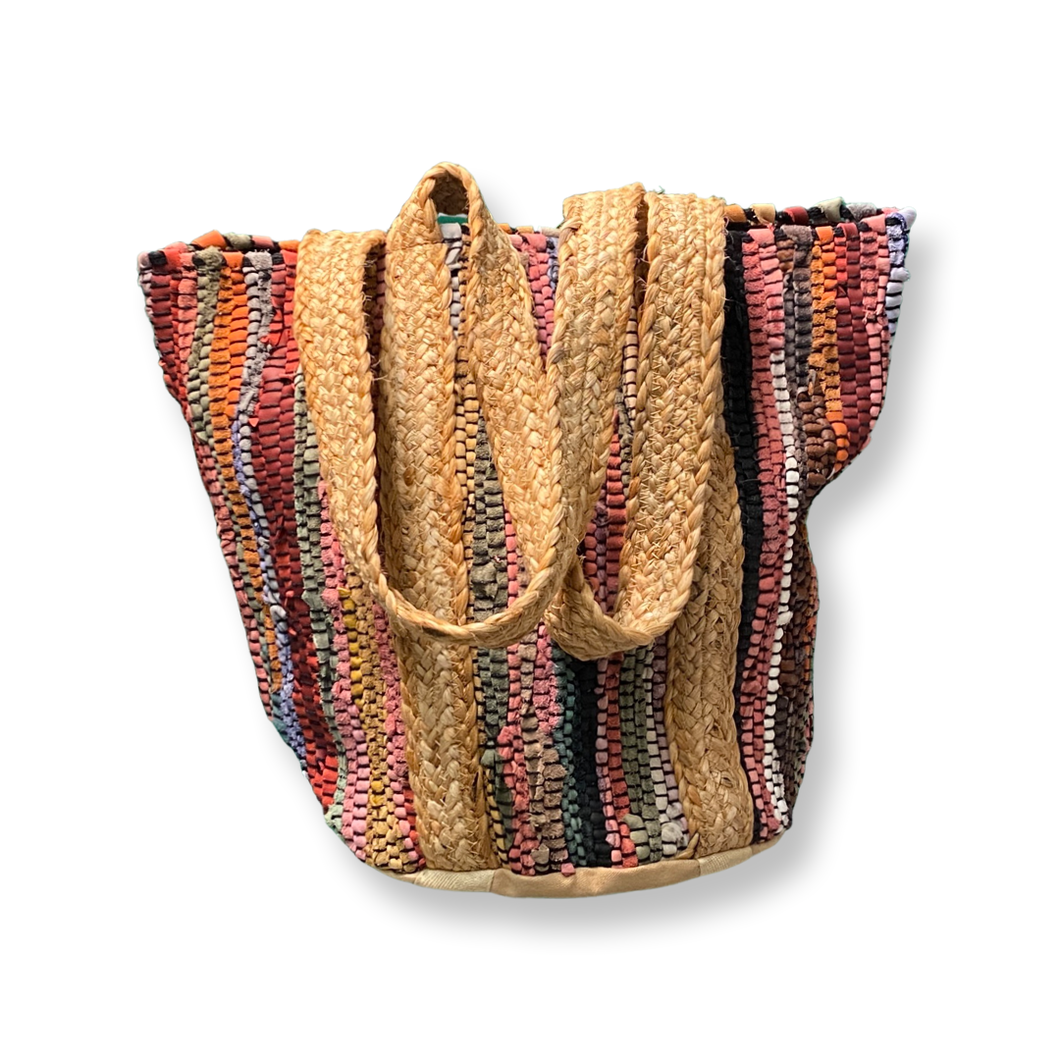 [CB-625S] Handbag -Small Multicolor Recycled Leather Handloom Tote w/Jute Strap