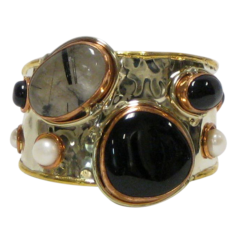 Gold White Based Metal Cuff w/Black Onyx Rutile & Mother of Pearl