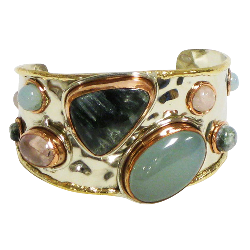 Gold White Based Metal Cuff w/Rose Quartz Green Warm & Chalcedony Blue