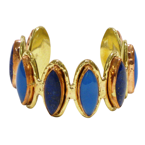 Gold White Based Metal Cuff w/Chalcedony Blue & Lapis Semi Precious Stones (Sale Item Not Returnable)