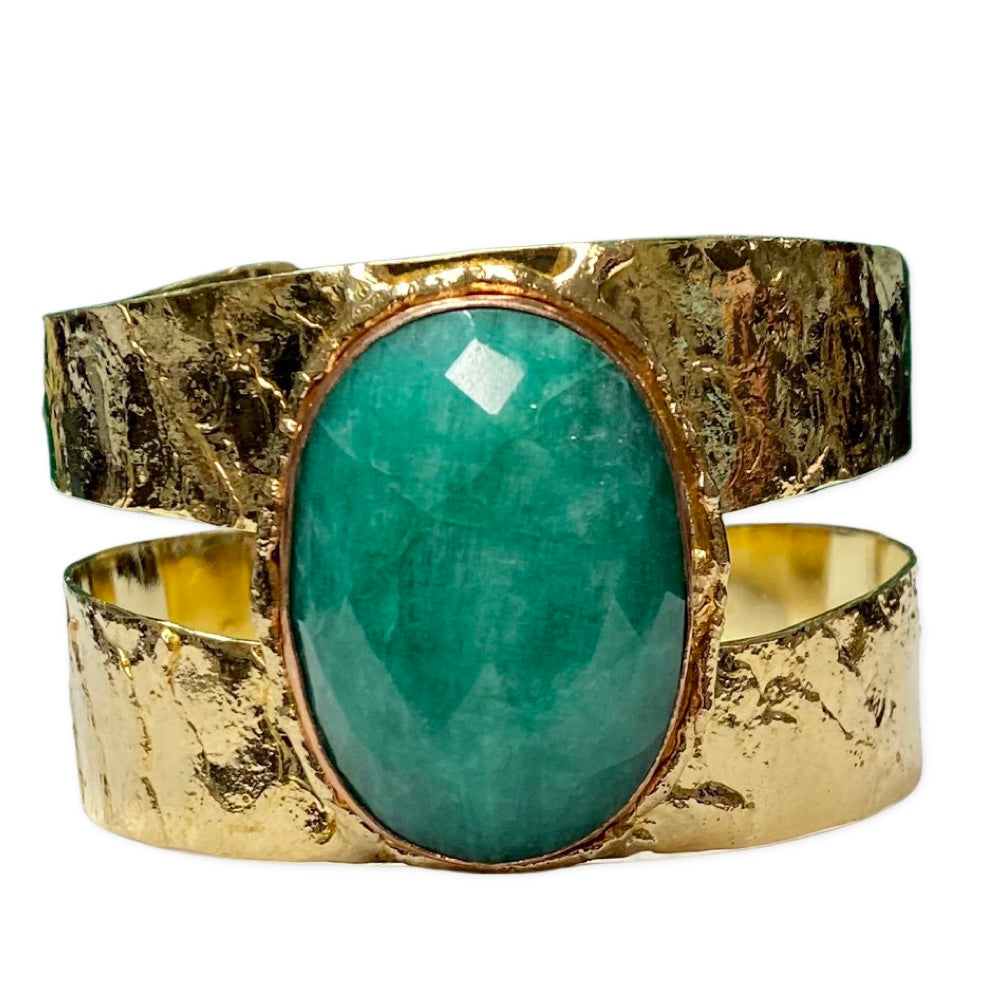 [CE-5326-EM] Cuff Brass & Copper w/Faceted Emerald Green Kyanite Stone