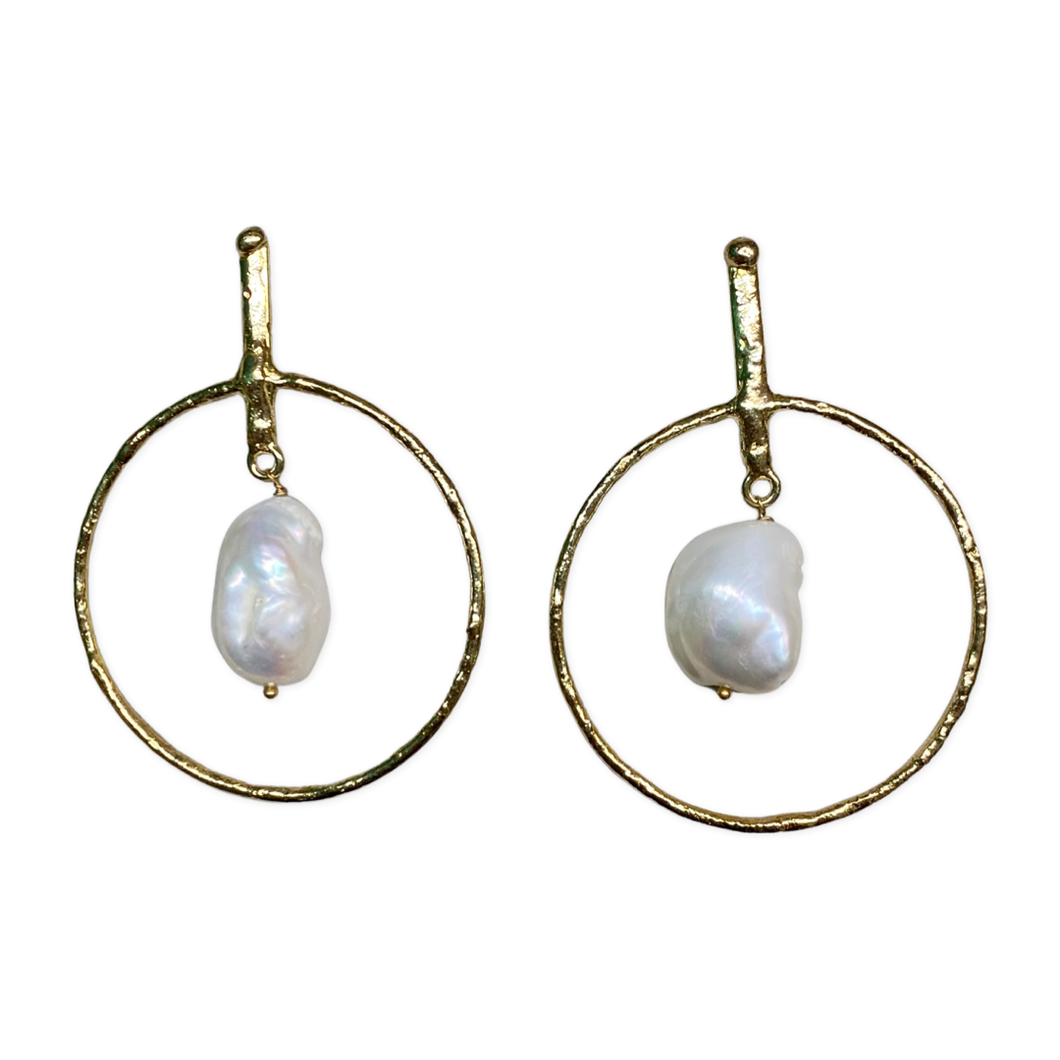 [EE-5292]Earring - Gold White Metal w/Baroque Pearls