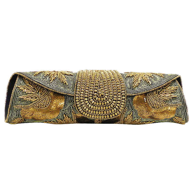 David Jeffery Handbag - Black & Gold Clutch w/Chain Strap