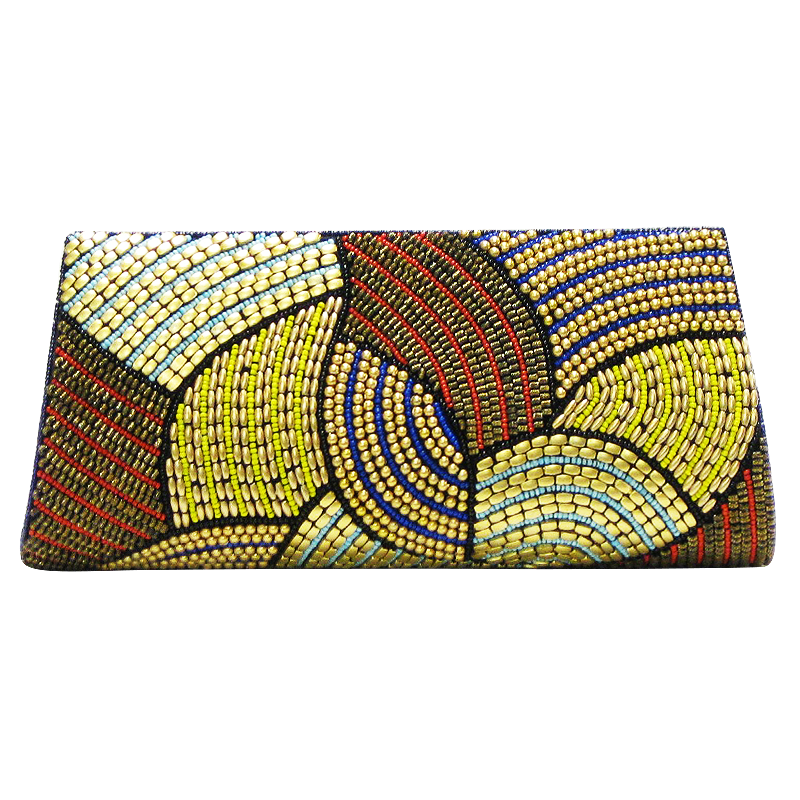 David Jeffery Handbag - Blue Gold Yellow Purple Red Beaded Clutch w/Strap