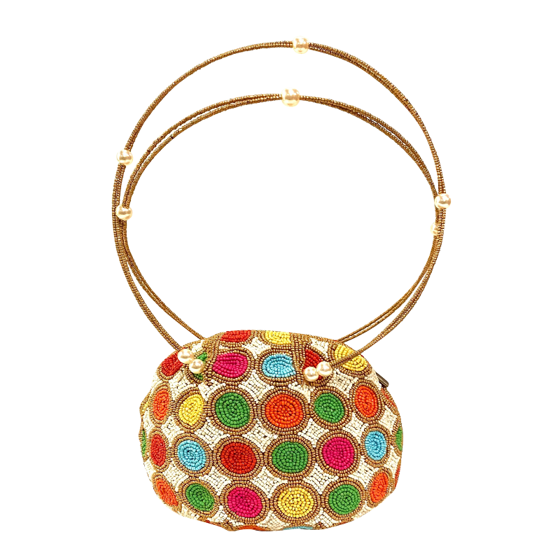 [ER-3300605] Handbag - Multicolor Beads w/Large Beaded Handle