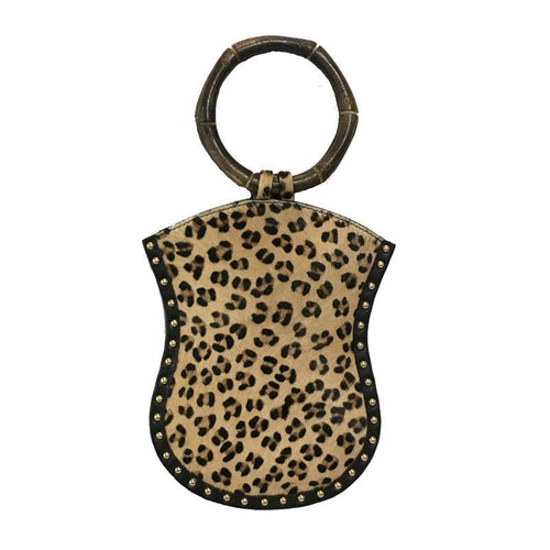 David Jeffery Mobile Bag - Cow Hide Leopard w/Leather Studs & Wooden Ring Handle
