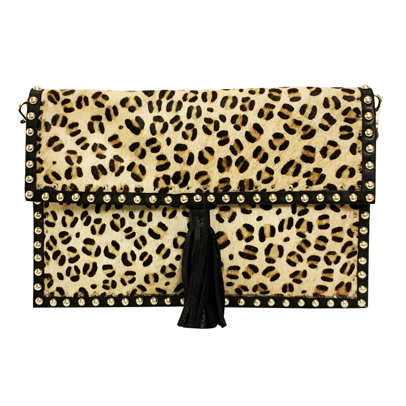 David Jeffery Mobile Bag - Cow Hide Leopard w/Leather Studs Fringe & Leather Strap