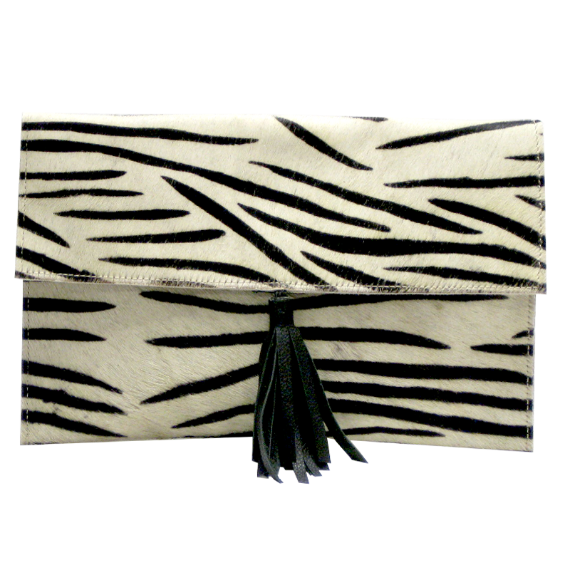Leather Pelt White Black Zebra Print w/Leather Strap