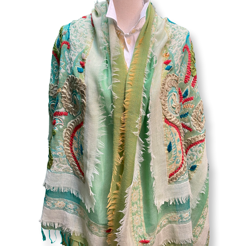David Jeffery Outerwear - Cotton Wool Blend Shawl Shades of Blue Green Yellow