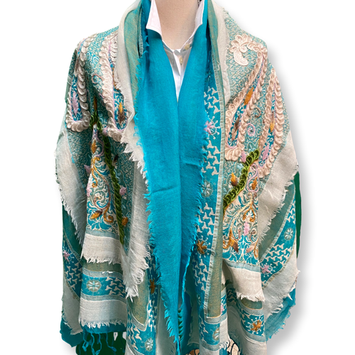 David Jeffery Outerwear - Cotton Wool Blend Shawl Shades of Blue Grey Pink