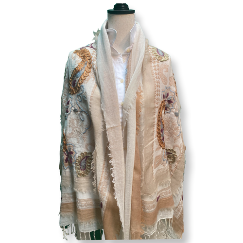 David Jeffery Outerwear - Cotton Wool Blend Shawl Shades of Black White Yellow Pink Blue