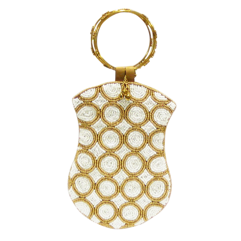 David Jeffery Mobile Bag - Ivory & Gold Beads w/Ring Handle