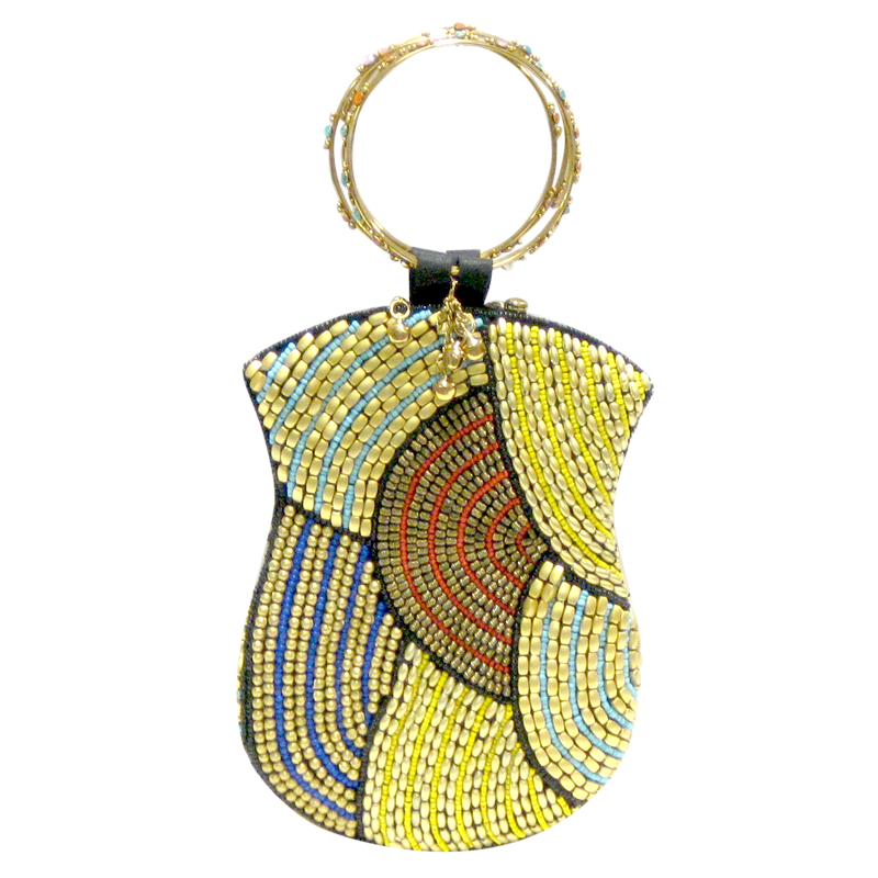 David Jeffery Mobile Bag -Blue Gold Yellow Purple Red Beads w/Ring Handle