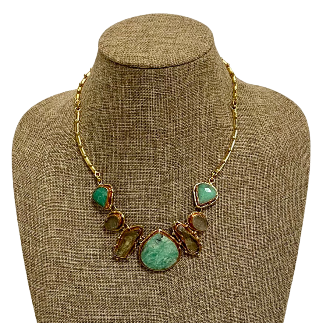 [NAR-2311] Necklace w/ Chrysoprase, Rainbow Quartz & Green Amethyst