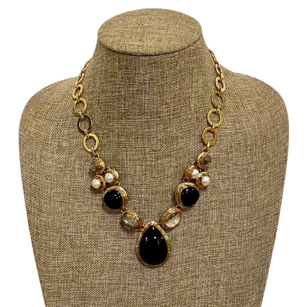 [NE-4532] Necklace Stainless Gold White Metal Copper w/Black Onyx Rutile & Mother of Pearl