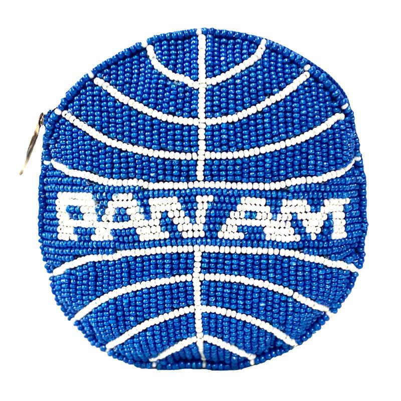 David Jeffery Coin Bag - Pan Am White Blue Beaded Round w/ Zipper