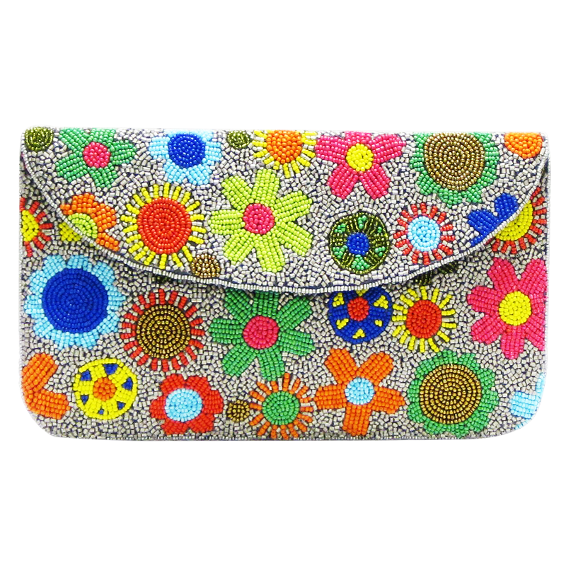 David Jeffery Handbag - Camel w/Multicolor Flowers & Chain Strap