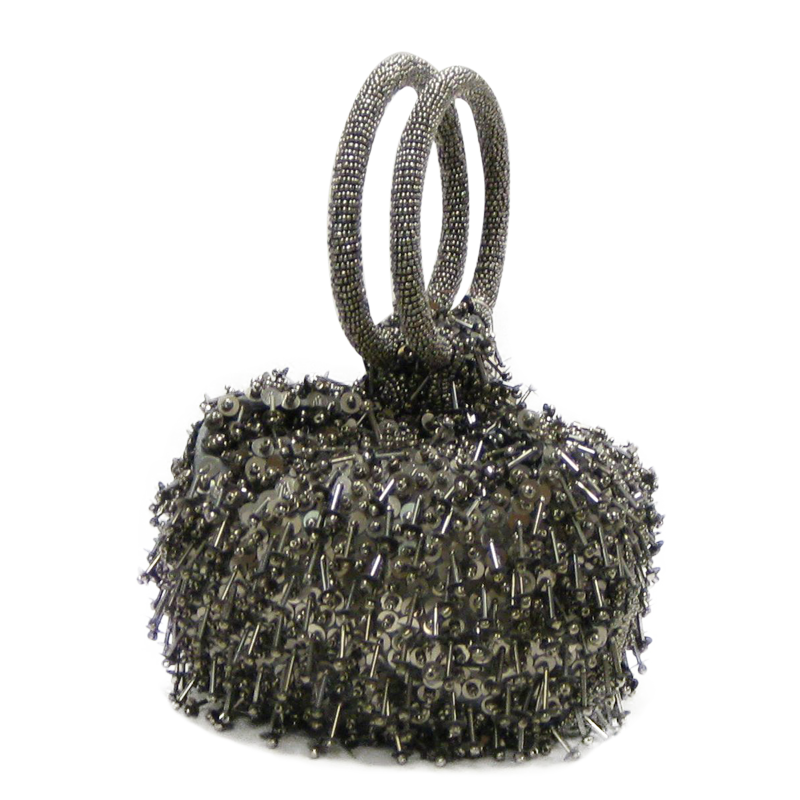 David Jeffery Handbag - Silver Metallic  Beads w/Ring Handle