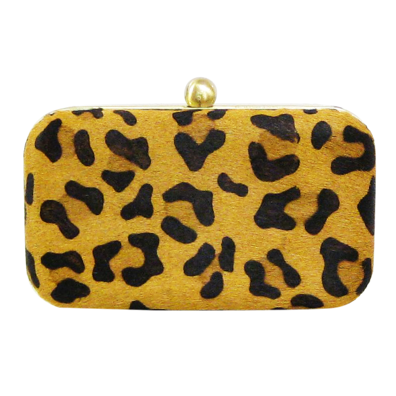 David Jeffery Handbag - Hard Case Cow w/Black White Animal Print Clutch w/Chain Strap