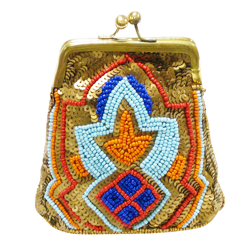 David Jeffery Coin Bag - Gold Blue Orange Sequins & Beads