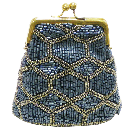 David Jeffery Coin Bag - Blue & Silver Beads