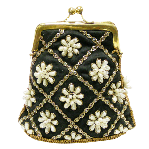 David Jeffery Coin Bag - Black w/White Beads