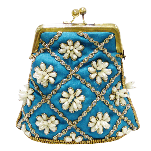 David Jeffery Coin Bag - Blue w.Ivory Beads