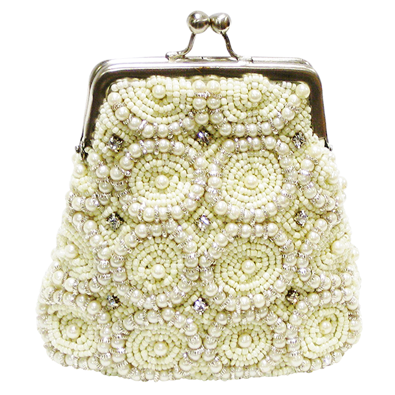 David Jeffery Coin Bag - Ivory Beads & Clear Stones