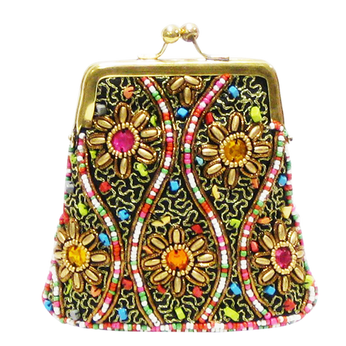 David Jeffery Coin Bag - Multicolor Beads