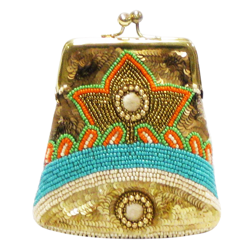 David Jeffery Coin Bag - Beige Blue Green Gold Beads