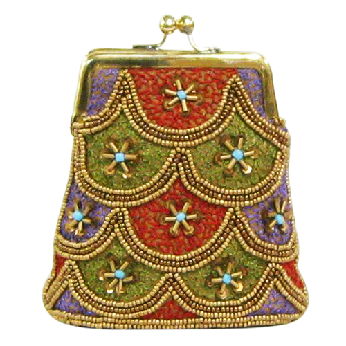 David Jeffery Coin Bag - Gold Green Red Purple Blue Beads & Sequins