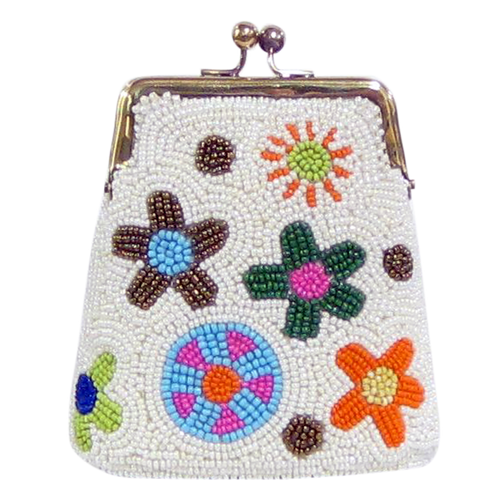 David Jeffery Coin Bag - White w/Multicolor Flowers
