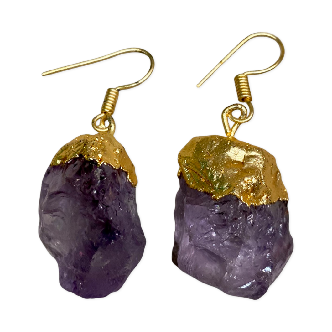 [REG-5549-AM] Matt Gold Finish Earrings w/Polished Amethyst Stones