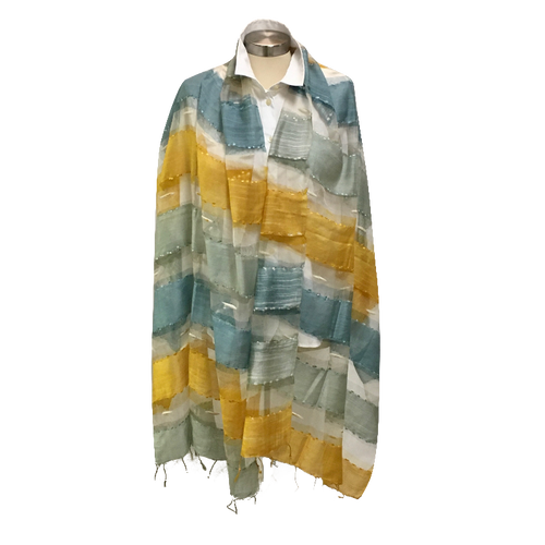 70% Modal 30% Silk Woven Scarf Gold Grey Blue