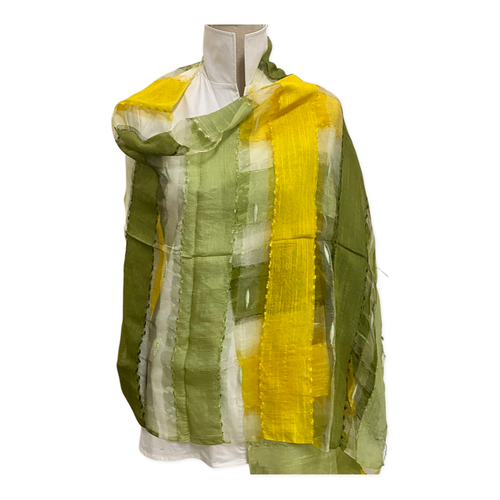 70% Modal 30% Silk Woven Scarf Yellow Green