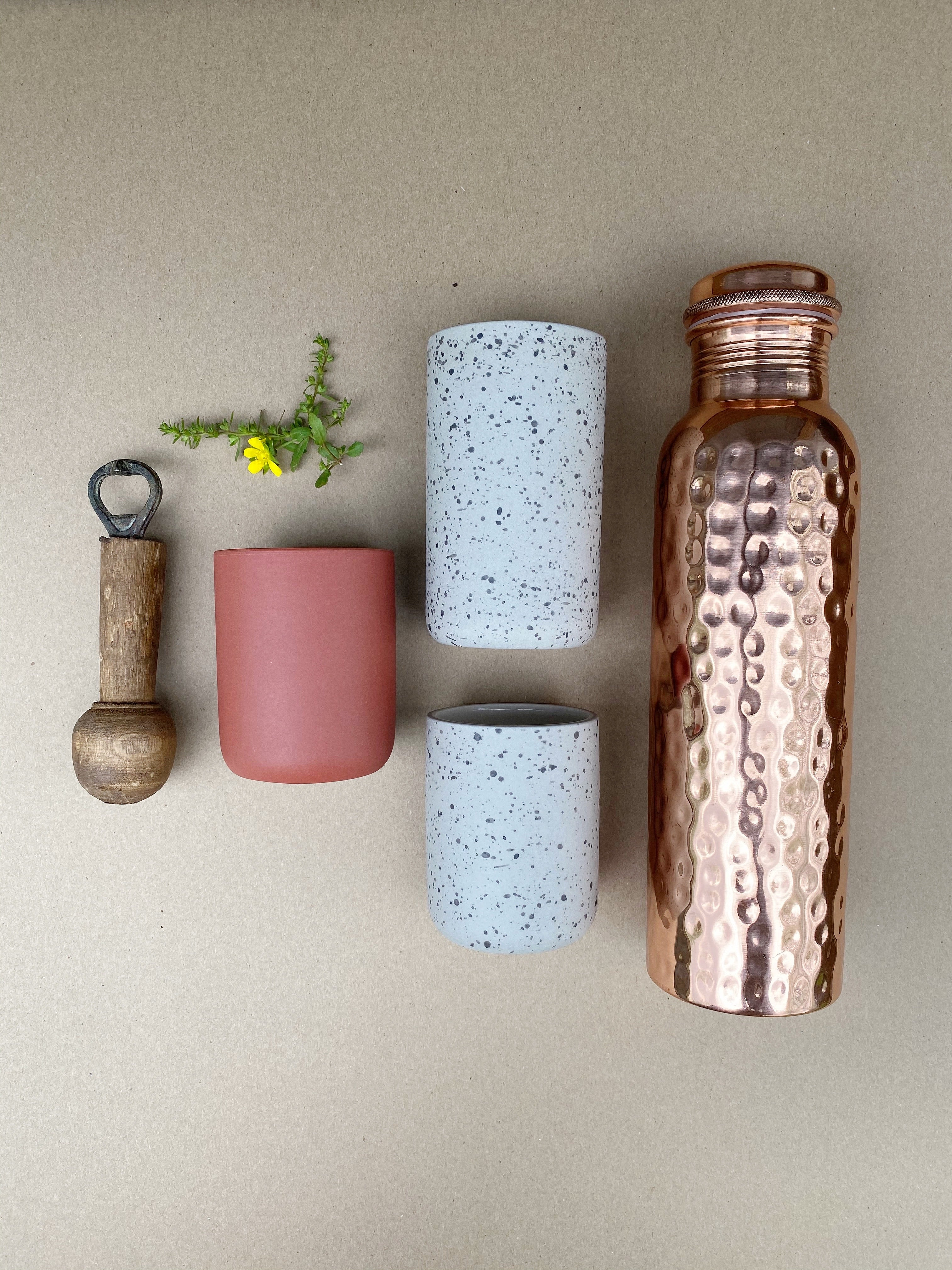 Shiny Hammered Copper Water Bottle