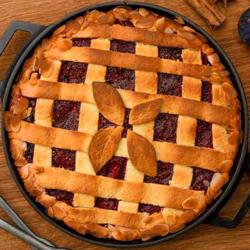 This seasonal showstopper is a take on the Italian jam-filled Crostata, and is the perfect mix of sweet, tangy, and spiced flavour to round off any family meal.