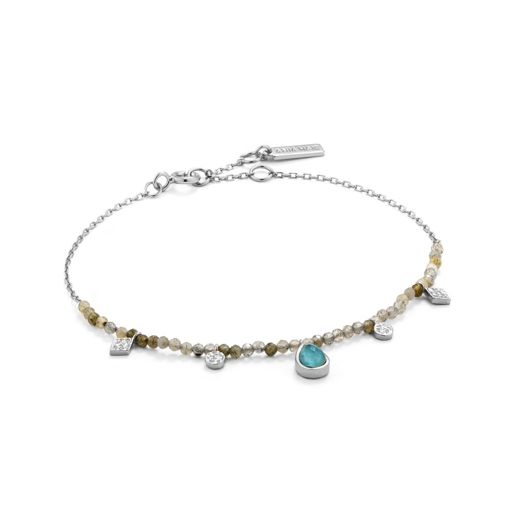 Turquoise and Labradorite Silver Bracelet
