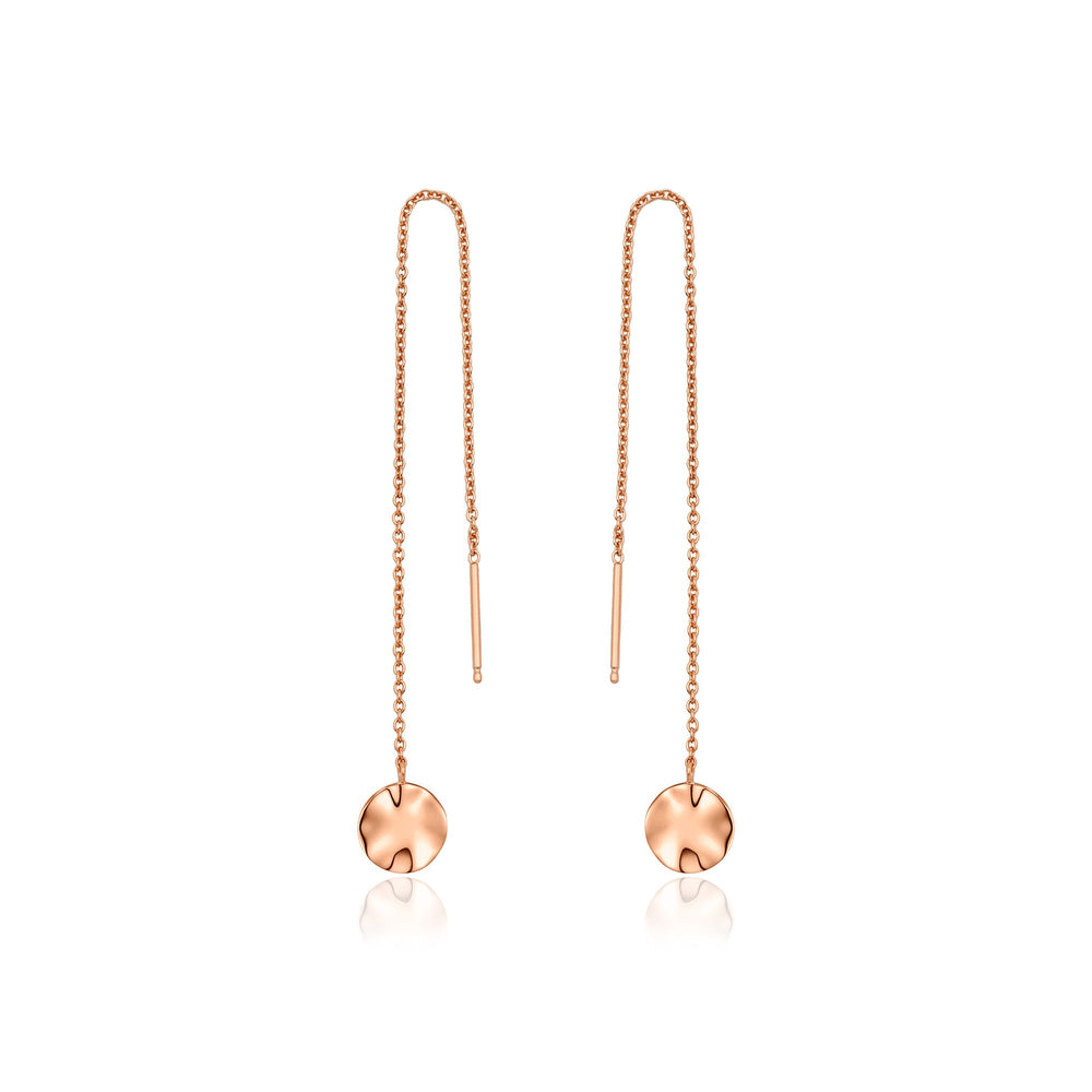 Load image into Gallery viewer, Rose Gold Ripple Threader Earrings