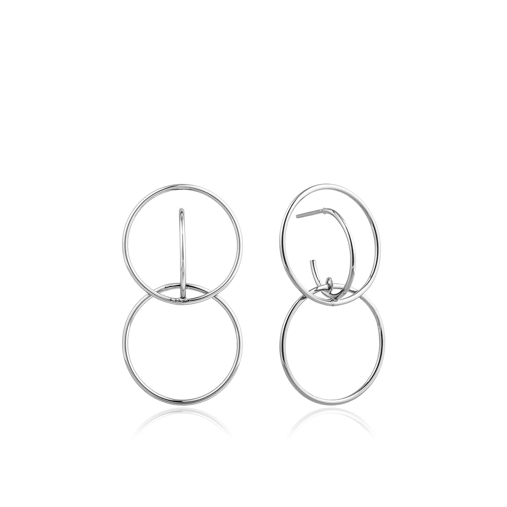 Silver Double Circle Front Earrings