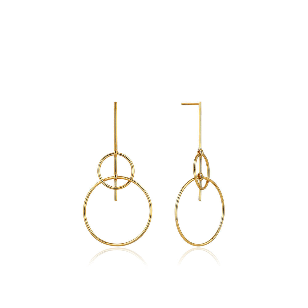 Gold Solid Drop Earrings
