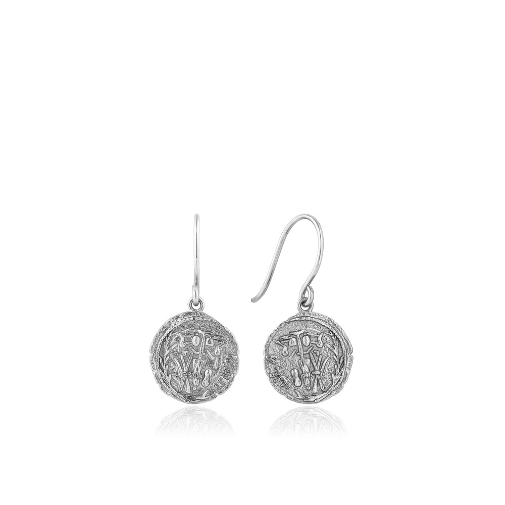 Silver Emblem Hook Earrings