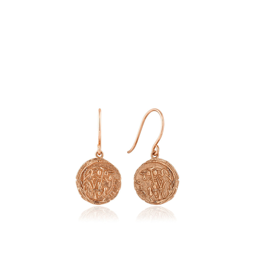 Rose Gold Emblem Hook Earrings