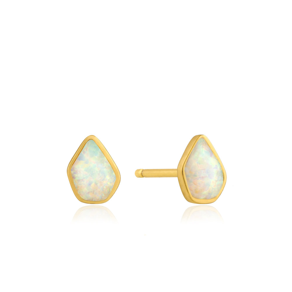 Load image into Gallery viewer, Opal Color Gold Stud Earrings