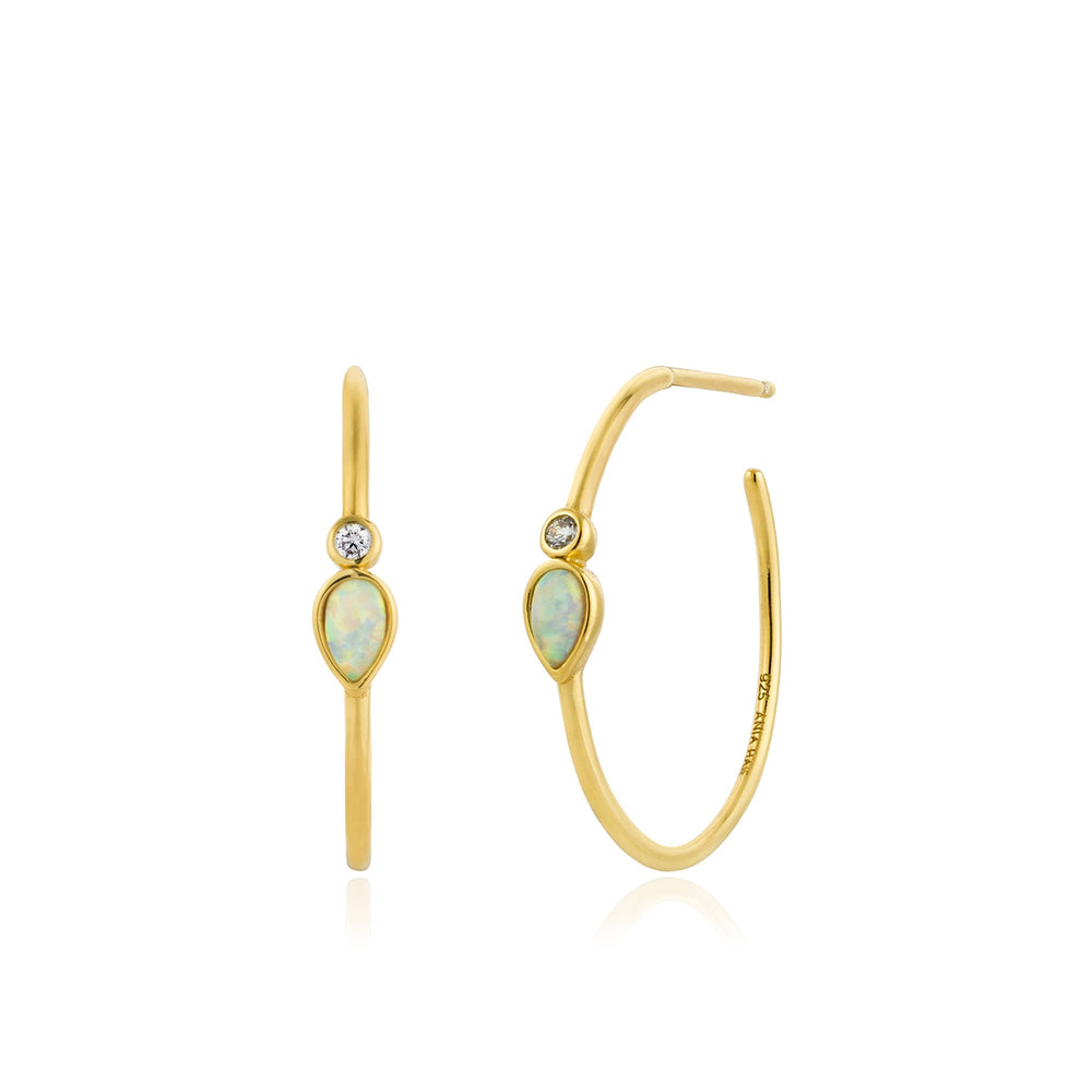 Load image into Gallery viewer, Opal Color Raindrop Gold Hoop Earrings