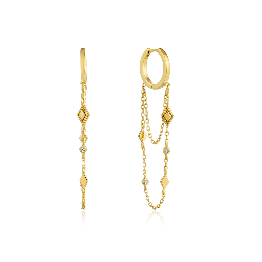 Load image into Gallery viewer, Gold Bohemia Chain Drop Mini Hoops